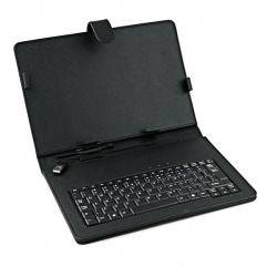 "10"" MID Tablet PC Black Leather Case with USB Interface Keyboard"