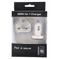 iPad/iPhone 3GS/4 3 in 1 AC Adapter Charger  with Car Charger & USB Charging Cable White