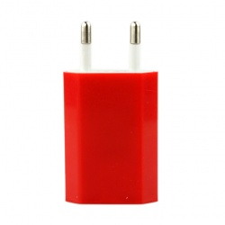 iPod iPhone Red EU AC to USB Power Charger Adapter Plug