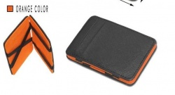 Mens MAGIC MONEY CLIP Leather Wallet ID Cash Holder Credit  orange Card Cover Case Hot
