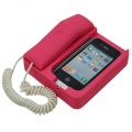 iPhone 4 mobile phone holder / retro matte telephone rose red