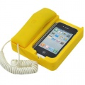 iPhone 4 mobile phone holder / retro matte telephone yellow