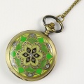 Bronze Engraved Diamond Flowers Men Electronic Pocket Watch
