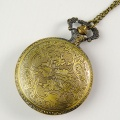 Bronze Engraved Moveable Sunflower Hollowed Electronic Pocket Watch