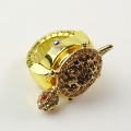 Lady's Stainless Steel Golden Ring Watch with Colorful Diamond Turtle Cover