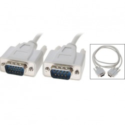 1.5M VGA HD15 Male to DB9 Pin Male Adapter Cable White