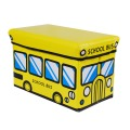 Utility vehicles stool/toy gift storage bench/storage box - trumpet yellow school bus