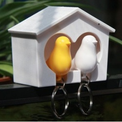 Couple birdie multifunction keychain key ring - Yellow + White