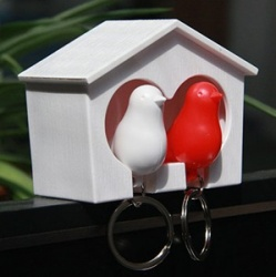 The couple birdie multifunction keychain key ring - White + Red