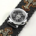 Punk Gothic Ladies Women Men Gens Genuine Leather Wrist Watch