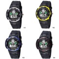 HighQuality Color Block PASNEW LED Analog Water-proof Dual Time Boys Girls Sport Watch