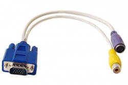 HD/DB-15 15-pin VGA Male to Video TV/S-Video + RCA Video Out Female Adapter Cable