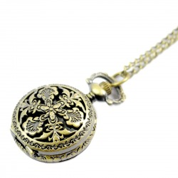 Retro Hollowed-out Bronze Engraved Spiderweb Men Women Electronic Pocket Watch