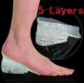 5 Layers Taller Insole Silicone Gel Inserts Lift Shoe Pads Height Increase