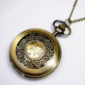 Vintage Alloy Steampunk Bronze Necklace Pendant Chain Skeleton Mechanical Pocket Watch Gift