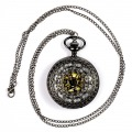Vintage Steampunk Necklace Pendant Chain Skeleton Mechanical Pocket Quartz Watch Gift