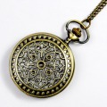 Retro Bronze Hollow-out Engraved Cover Spiderweb Men Women Electronic Quartz Pocket Watch