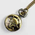 Retro Bronze Cartoon Engraved Spiderweb Men Women Electronic Quartz Pocket Watch