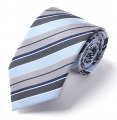 New Silk Striped Blue Grey JACQUARD WOVEN Silk Men's Tie Necktie