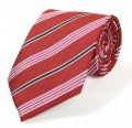 New Silk Striped Red Black Pink JACQUARD WOVEN Silk Men's Tie Necktie