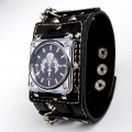 Punk Gothic Cross Design Ladies Women Men Genuine Leather Wrist Watch