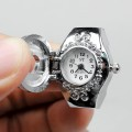 Men Lady's Stainless Steel with Crystal Rhinestone Ring Watch with Cover