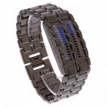 Men Unique Lava Style Iron Blue LED Digital Wrist Watch