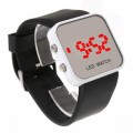 Women & Men Black Sport Style Mirror Surface Silicone LED Digital Watch