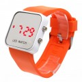 Women & Men Orange Sport Style Mirror Surface Silicone LED Digital Watch