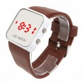 Women & Men Brown Sport Style Mirror Surface Silicone LED Digital Watch
