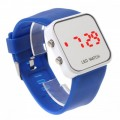 Women & Men Blue Sport Style Mirror Surface Silicone LED Digital Watch