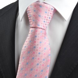 New Pink Blue Polka Dot Circle Pattern JACQUARD WOVEN Men's Tie Necktie
