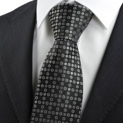 New Black Grey Polka Dot Circle Pattern JACQUARD WOVEN Men's Tie Necktie