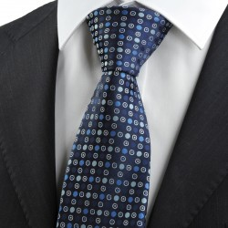 New Navy Blue Polka Dot Circle Pattern JACQUARD WOVEN Men's Tie Necktie