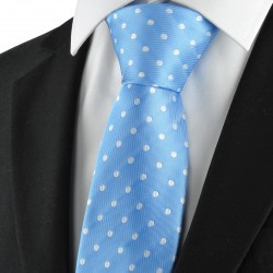 New Polka Dot Blue White Classic Men Tie Suit Necktie Wedding Holiday GiftKT1044