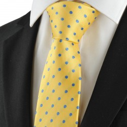 Polka Dot Blue Golden Classic Mens Tie Suits Necktie Wedding Holiday Gift KT1046