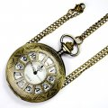 Retro Bronze Cartoon Hollow-out Engraved Spiderweb Men Women Electronic Quartz Pocket Watch