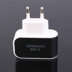 1pc Black and White Charger 3 USB Charger Adapter EU Plug with LED Indicator