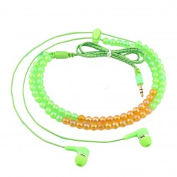 Fashion Pure Color Beaded Braided Wired Headset Earphone in Ear Headset
