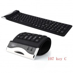 107C Waterproof USB 2.0 Portable Flexible Silicone Keyboard for PC Laptop Notebo