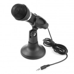 Black Computer Micorphone 3.5mm Mini Studio Speech Mic Microphone Stand NEW
