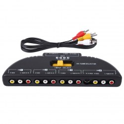 2015 4-Way Audio Video AV RCA Switch Game Selector Box Splitter Black