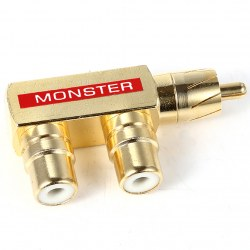 1pcs Gold Plated AV Audio Video Splitter Plug RCA Adapter Green Red