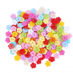 200pc 14mm Plastic Resin Buttons Mixed Color Flower Shape Sewing Button 2 Holes