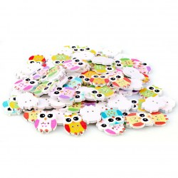 100pcs DIY Mixed Buttons 2 Holes Wooden Owl Shape Form Cute Button