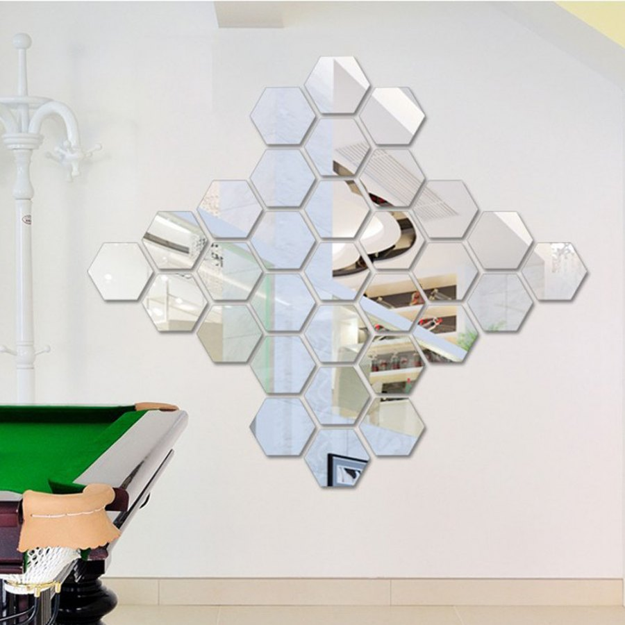 12 hexagonal mirror room wall stickers home decoration wall