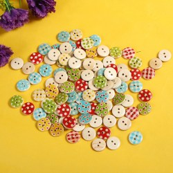 100 Pcs Dot Plaid Pattern Round Mixed 2 Holes Wood Buttons Sewing Scrapbooking