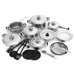 Hot Sale 17-Piece/Set Stainless Steel  Cookware Set Silver and Black Kitchen Too