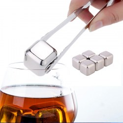 6pcs Drill 304 Stainless Steel Whiskey Stones Whisky Scotch Silver Ice Cold