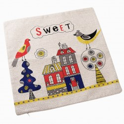 Fashion Sweet Bird House Pattern Linen Square Sofa Pillow Case Cushion Cover New